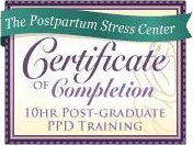 Postpartum Stress Center Certificate